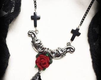 Red Rose Necklace with Black Crosses, Gothic Victorian Pendant, Romantic Jewelry, Valentines Gift, Vampire Jewelry, Gothic Jewelry