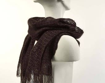Handwoven scarf in dark brown kidmohair and dark gray tencel. Kidmohair scarf, woven by hand, dark brown and gray. Dark brown mohair stole.