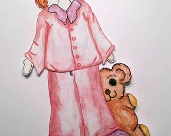 Sleepover Duds for Redhead Paper Doll