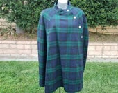 Vintage Cape, Classic Plaid Print, Green & Navy, Capelet, Wool, Holiday Wear, Fall Fashion, Christmas, Costume, Size Large - XL