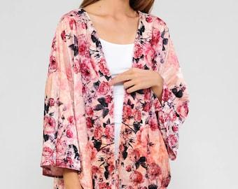 Coral kimono jacket | Etsy