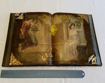 antique decoupage book w/ victorian ladies & gold trim accents and butterfly - laquered open picture photo booklet - art deco nouveau shabby