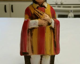 """vintage boy from ecuador  8"""" statue figurine 1977 by relic art unicef the international year of the child - doll figure"""