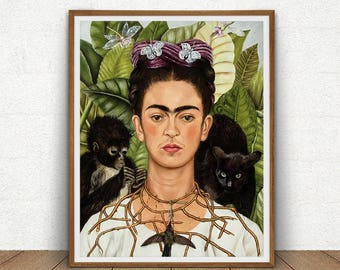 Frida Kahlo Self-Portrait Art Printable, Thorn Necklace and Hummingbird, Mexican Art, Frida Print Art Reproduction, Boho Vintage Decor
