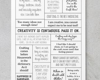 Creativity - Scrapbooking/Card Making Quote Sheet **DIGITAL DOWNLOAD**