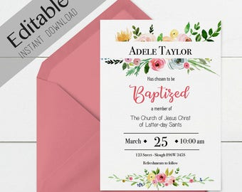 Baptism Invitation Girl Editable file, Editable PDF, Instant Download, Girl Invitation flowers, LDS Baptism Invite, No Photo Needed