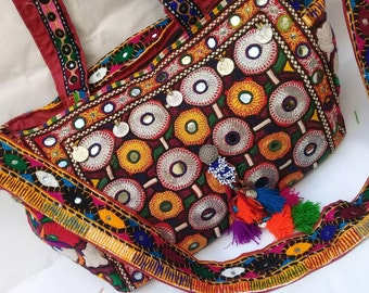 Banjara bag, Bohemian handbag, Vintage embroidered bag, Vintage bag, Tribal bag, Boho tote bag, Gypsy bag, Mirror work, Bohemian bag.