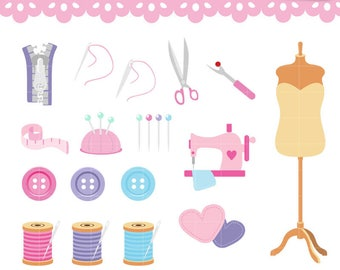 Collection Sewing Clipart. Pincushion, Dress form, zipper, Needler, Thread. Digital graphics Set great for scrapbooking. Commercial Use OK