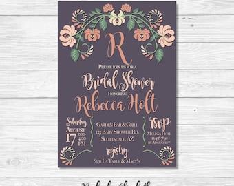 Floral Bridal Shower Invitation, Peach Bridal Shower Invitation, Peach and Gray Invitation, Modern Floral Invitation, *DIGITAL FILE*
