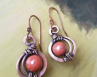 Red Jasper Earrings, Copper Wirewrapped, small drop