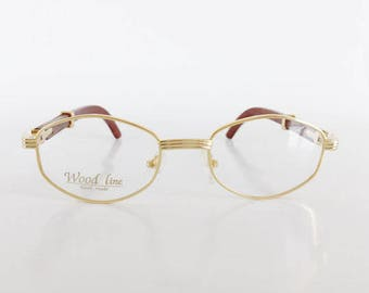 men cartier style eyeglasses gold frame brown wood glasses woodline eyewear vintage wood - Cartier Frames For Men