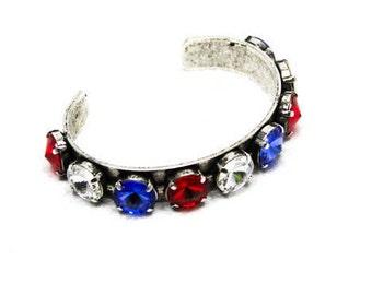 USA Red. White and Blue Rhinestone Cuff