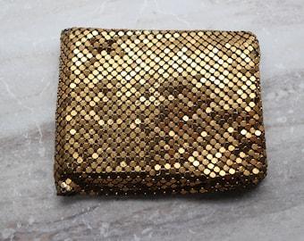 Vintage Gold sequin wallet, Jorelle Bags billfold, Made in West Germany, designer wallet, evening wallet, folding wallet, gifts for her