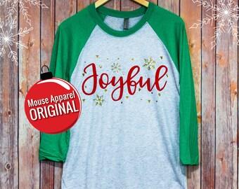 Joyful Hidden Mickey Disney Christmas Raglan Shirt/Disney Shirt/Hidden Mickey Unisex Raglan/Glitter Disney Christmas Shirt