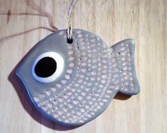 Ceramic hanging fish / / grey fish / / Deco Navy / / sea decoration / / grey fish / / gift for fisherman / / gift dad / / April fool