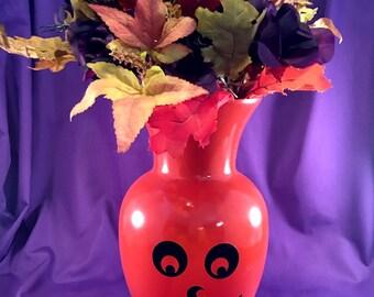 Jack-O-Lantern hand painted glass vase