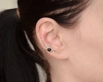 Beauty and the beast Ear Cuff Conch piercing Cartilage piercing Ear Wrap Fake piercing Ear Climber Tiny stud earrings Cuff earrings Earcuffs