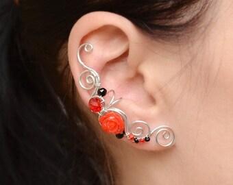 Red Black Earrings Rose Clip on Earrings Cartilage Earring Fake Piercing Cartilage Piercing Conch Earring Silver Ear Cuff no Piercing