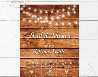 Printable String Light and Barn Wood Bridal Shower Invitation