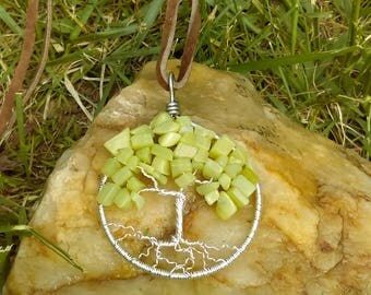 Tree of Life Olive Jade Pendant