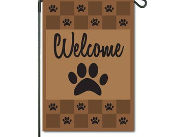 Paw Print Welcome Garden Flag - Durable All - Weather Material. Display Indoors or Outdoors; Multiple Color Options