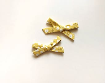 Yellow Floral Pigtail Bows