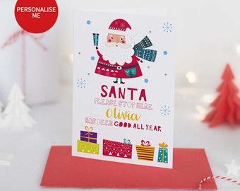 Santa Christmas Card, Christmas Card For Kids, Father Christmas Card, Christmas Card, Personalised Christmas Card, Kids Christmas Card Pack