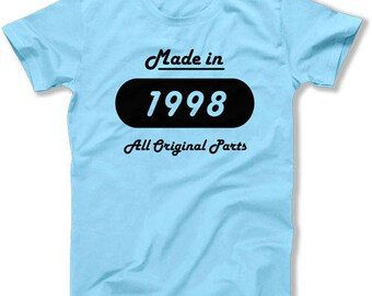 Funny Birthday T Shirt 20th Birthday Gifts For Him Bday Presents For Her Custom Gift Ideas Made In 1998 Birthday Mens Ladies Tee DAT-1529