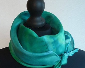 A large square scarf silk emerald green. OOAK, signed, painted and hemmed hand.