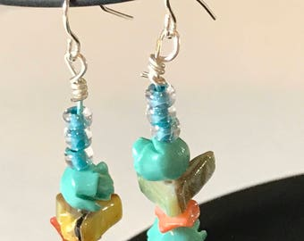 SALE - TerisArt Flower and Bead Dangle Earrings