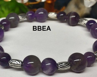Bracelet Amethyst 8 and 10 mm and Tibetan silver barrel beads