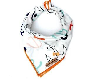 Nautical dog bandana, anchor dog bandana, beach dog bandana, summer dog bandana, puppy, dog, dog bandana, dog accessories, dog fashion: BAY