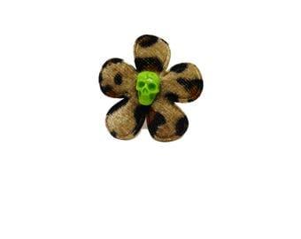 Rockabilly - flower skull ring