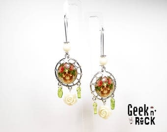 Earrings trap dream Rock - skull and roses