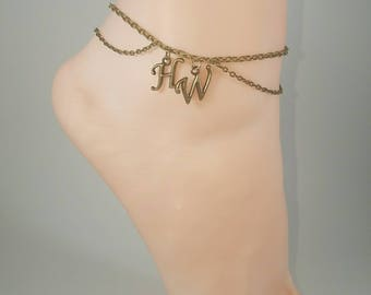 Hotwife Anklet,  Vintage Bronze Plated, Personalized Anklet, Kinky, Fetish Body Jewelry, Double Chain Bronze Series
