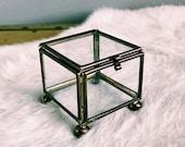 Vintage Glass + Brass Hinged Trinket Box w/ Lid / Hollywood Regency Footed Display Storage Container