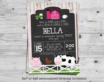 Farm birthday invitation (girl birthday) - personalized with your child's name - digital / printable