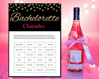 Bachelorette Charades - Bachelorette Games - Bachelorette Party - Printable Bachelorette Party Games - Hens Night - Gold & Pink - Printables