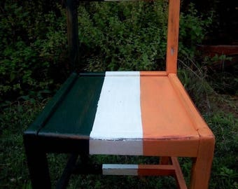 Upcycled oak chair with irish flag