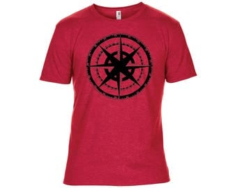 Seriously Soft Heathered Red T Shirt with Black Original Screen Print