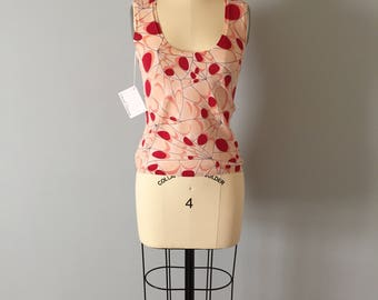 1990s Bergdorf Goodman cotton crop top || abstarct print top || butterfly wings print top