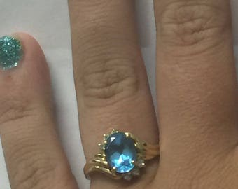 14k Yellow Gold 2 carat Blue Topaz EMA designer ring
