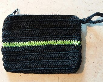 Black and green purse