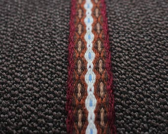 Wide tablet woven trim, viking card weaving belt, traditional slavic sash, handwoven guitar strap, medieval clothing, larp weave, red ribbon