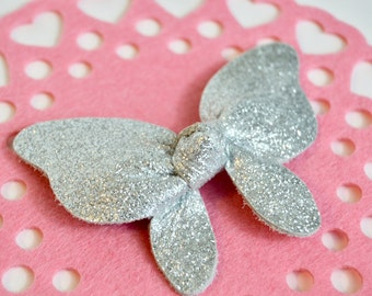 Silver Glitter Butterfly Bow // Leather Knotted Hair Bows  //  Butterfly Knotted Bow Hair Clip // Leafy Treetop Leather