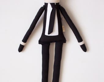 Fashion Icon Karl Lagerfeld Cloth Doll: handmade with organic cotton