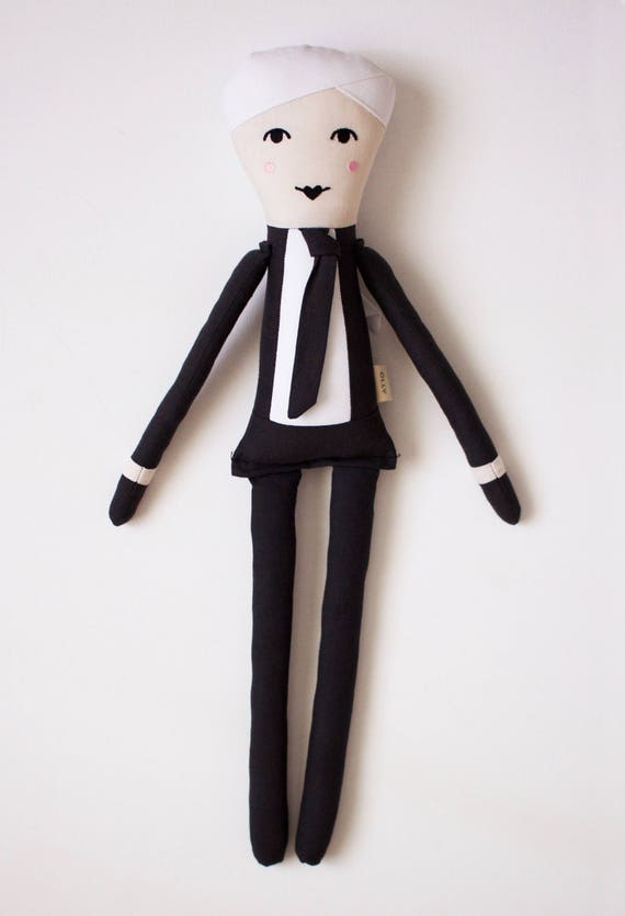 Fashion Icon Karl Lagerfeld Cloth Doll: handmade with eco-friendly materials