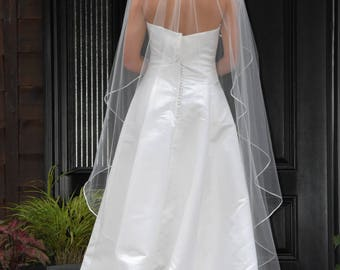"75"" Angel Cut/Waterfall Cut Floor Length Veil with 1/8"" Satin Cord Edge"
