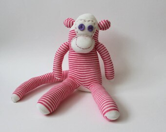 Squiggles the Sock Monkey | Handmade Monkey, Soft Toy, Birthday Gift, Baby Gift, Lost Socks, Stripy Socks, Baby Shower, Pink Stripy Socks