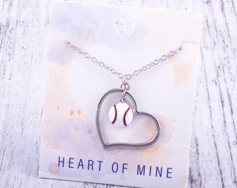 Customizable! Heart of Mine: Baseball Enamel Necklace - Great Baseball Gift!